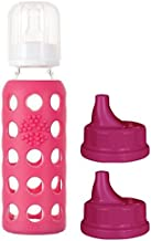 Lifefactory Glass Baby Bottle 9oz and 2 Transitioning Sippy Caps (Raspberry)