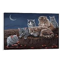 子猫ネズミと 芸術 北欧 装飾 ポスター ポスター 装飾 絵 キャンバス 壁アート リビングルーム 寝室 印刷 アートパネル24x36inch(60x90cm)