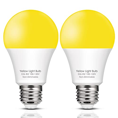 EvaStary LED Yellow Light Bulb 8W, Amber Yellow Bug Outdoor Porch Lights, A19 LED Sleep Aid Bulb, Amber Night Lights 60W Incandescent Equivalent, E26 Medium Base 700 Lumens 120V, Not Dimmable, 2 Pack