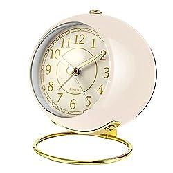Small Desk Clocks for Shelf Bedroom Office, Table Alarm Clocks, Gold Vintage Metal Aesthetic Living Room Decor Clock, Non Ticking Silent,Battery Operated Mini Digital dial Cute Clocks(Off White