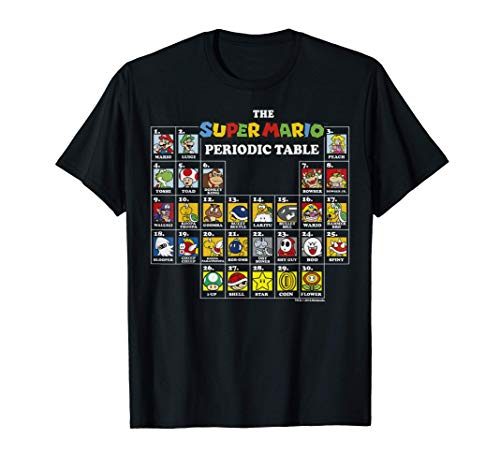 Super Mario Periodic Table Retro Gaming T-shirt for Adults or Kids