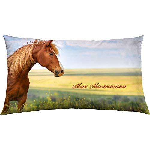 Manutextur Kissen mit Namen - Motiv Pferd - viele Motive - Kissenhülle inklusive Füllung - Größe 30x50 cm - personalisiert - persönliches Geschenk mit Wunsch-Motiv und Wunsch-Name
