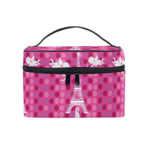 Tour Parisienne Rose Trousse Sac de Maquillage Toilette Cas Voyage Sac Organisateur Cosmétique Boîtes pour Les Femmes Filles