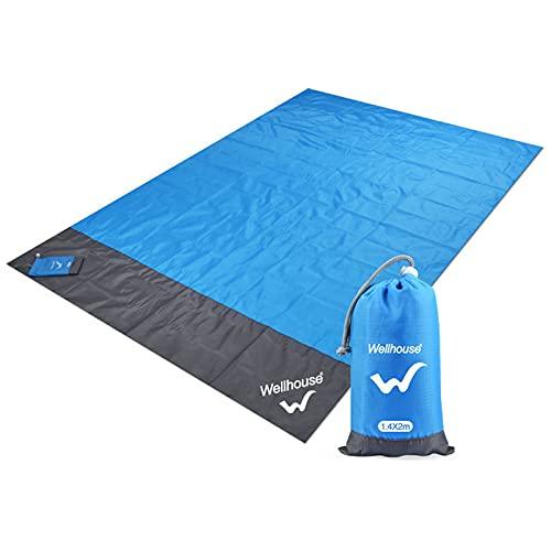 Manta de playa impermeable a prueba de arena para 4 – 7 personas de secado rápido, mantas de picnic portátiles con 4 anclajes de estaca bolsa de transporte para viajes