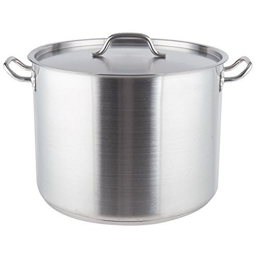 Royal Industries Classic Stock Pot with Cover, 40 qt, 15.7' x 11.8' HT, Stainless Steel, Commercial Grade - NSF Certified