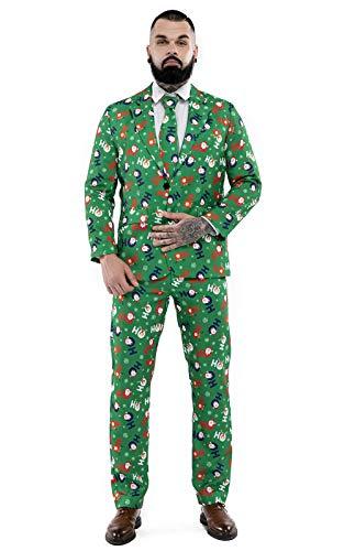 U LOOK UGLY TODAY Hässlicher Weihnachtsanzug, Lustige Herren Anzug Kostüm mit Festlich Weihnachtsmustern Weihnachtsmann Rentier für Party