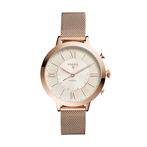 Fossil Women s 36MM Jacqueline Stainless Steel Mesh Hybrid Smart Watch, Color: Rose Gold (Model: FTW5018)