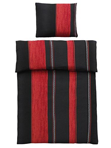 4-Teilig Microfaser Seersucker Bettwäsche schwarz, rot mit Reißverschluss 2X 135x200 Bettbezug + 2X 80x80 Kissenbezug, Öko-Tex Standart 100
