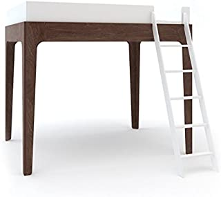 Oeuf Perch Twin Loft Bed in White and Walnut