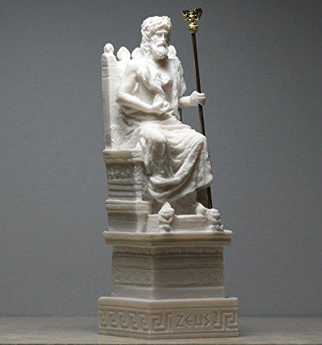 Alabaster Statue Zeus Vater König der Götter auf Thron Skulptur Figur 17 cm