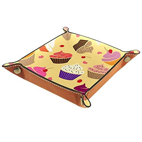 Bandeja de valet organizador de cuero pastel cereza impresión controlador llaves relojes moneda joyería caja de almacenamiento para mesita de noche aparador escritorio hogar cocina oficina