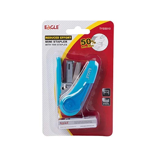 Eagle Reduced Effort Mini Stapler, Maximum 20 Sheets Capacity, with 1000 Staples, 50% Less Effort, Built-in Staple Remover and Staples Storage (Blue) Photo #3