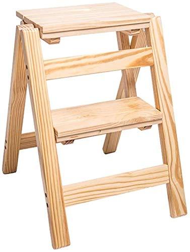 NYDZDM trapladder/ladder Vouwen 2-krukje Stoel Ladder, Houten Ladder, Ladder Step, Grote Tuinstoel Hoogte 52 Cm Zware belasting Max. 150 kg.