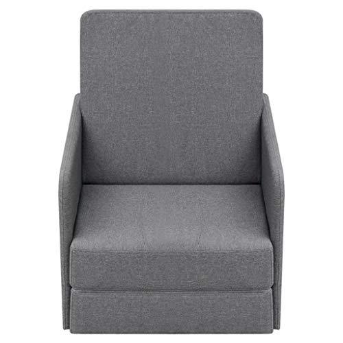 yorten Ausziehbar Schlafsessel Komfort Armsessel Relaxsessel Sessel mit Schlaffunktion Stoffpolsterung Hellgrau Kiefernholzrahmen