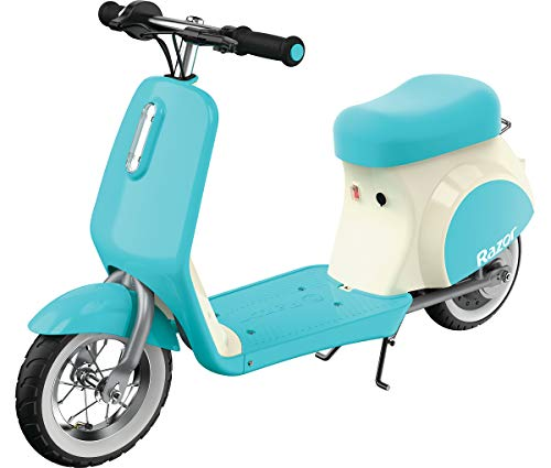 Razor Pocket Mod Petite - 12V Miniature Euro-Style Electric Scooter for Ages 7 and Up, Hub-Driven Motor, Air-Filled White Wall Tires, Up to 40 min Ride Time, Blue