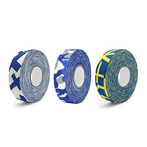 Cinta de hockey 3 piezas de cinta de patrón de bandera nacional, cinta de hockey de color, habilidades antideslizantes de alta viscosidad, cinta de hockey de camuflaje azul Hockey sobre hielo