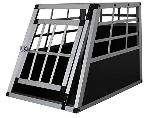Petigi Hundebox Hunde Alu Auto Tranportbox Groß XL Aluminium Kofferraum Transport Box für Hund Dog Autobox 54x50x69cm Haustier Reisen Van Kombi PKW Käfig