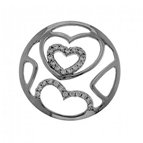 MY iMenso Herzen Fantasie Insignie Silber mit Zirkonia 33 mm 33-0501