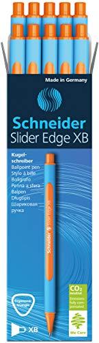 Schneider Slider Edge XB Ballpoint Pen, Orange, Box of 10 Pens (152206)