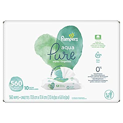 Baby Wipes, Pampers Aqua Pure Sensitive Water Baby Diaper Wipes, Hypoallergenic and Unscented, 10X Pop-Top Packs, 560 Count from AmazonUs/PRFY7