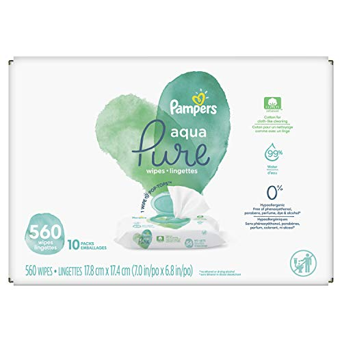 Baby Wipes, Pampers Aqua Pure Sensitive Water Baby Diaper Wipes, Hypoallergenic and Unscented, 10X Pop-Top Packs, 560 Count
