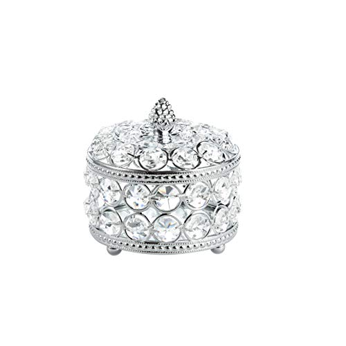 Feyarl Clear Crystal Jewelry Trinket Box Organizer Earrings Rings Treasure Box Storage Keepsake with Anti-Scratch Glass Mirror Surface Inside with Lid for Dresser Room Deco Valentine Christmas Birthday Gift (Silver)
