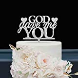 KISKISTONITE Wedding Cake Toppers Love, God Gave Me You Words, Religious Christian Anniversary Favors Party Cake Decorating Supplies | Glitter Silver