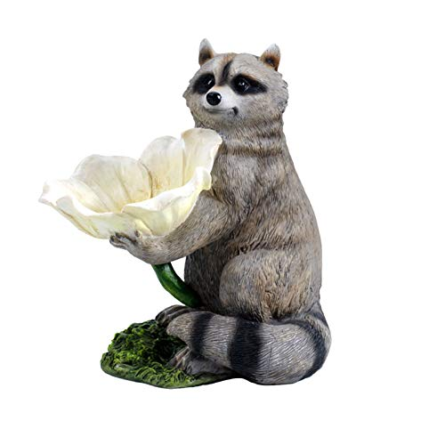 CHENXU Garden Statues and Sculptures Outdoor Raccoon Ornament Garden Courtyard Decoration Simulation Raccoon Bird Feeder Animal Yard Landscape Layout Outdoor Decorations