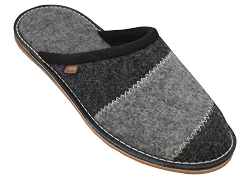 BeComfy Zapatillas de Hombre Fieltro/Goma Suela Pantuflas Zapatos Caseros Casa Fieltro Caja de Regalo 40-46 (45 EU, FMS09 Goma)
