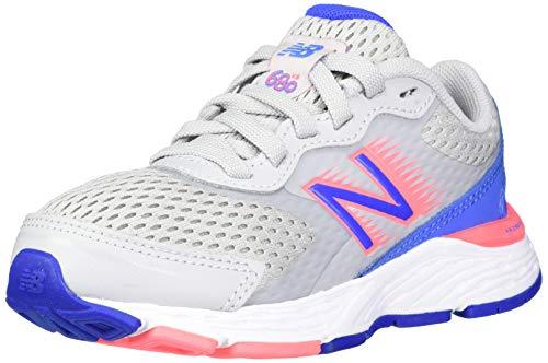 New Balance unisex child 680 V6 Lace-up Running Shoe, Light Aluminum/Faded Cobalt/Guava, 4.5 X-Wide Big Kid US