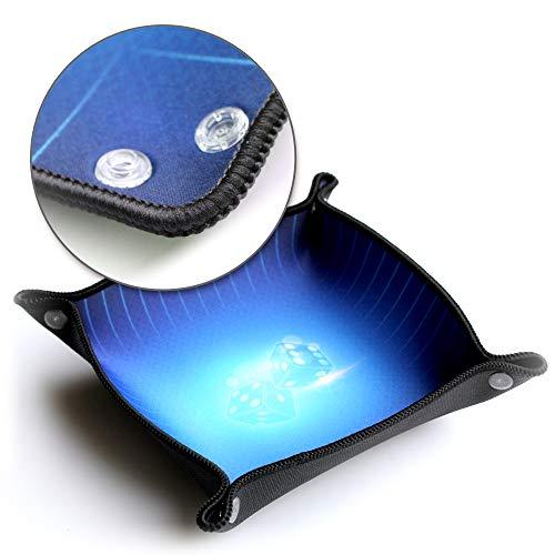 WOGAMAT - Piste de des Bleu Luxe en Neoprene - Tissu Premium UltraSmooth avec Bord Galonnne - Plateau à Jouer Pliable Leger et Transportable - Type de Jeu 421, yams, Societe, Role , Enfant et Adulte