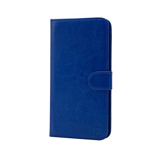 32nd PU Leder Mappen Hülle Flip Case Cover für BlackBerry DTEK50, Ledertasche hüllen mit Magnetverschluss & Kartensteckplatz - Blau