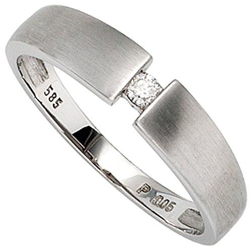 JOBO Damen-Ring aus 585 Weißgold matt mit Diamant Größe 62