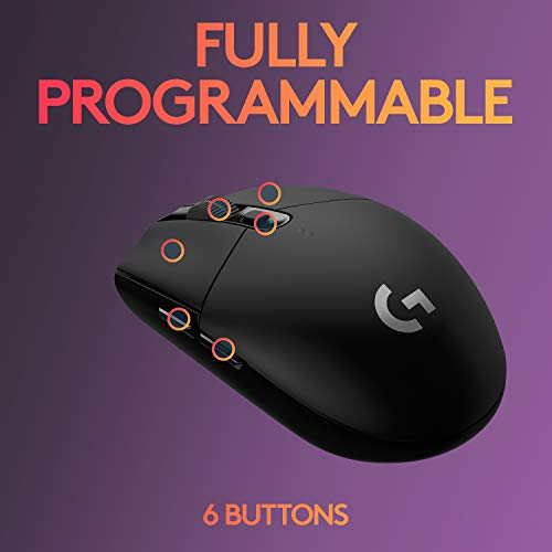 Logitech G305 LIGHTSPEED Wireless Gaming Mouse, Hero 12K Sensor, 12,000 DPI, Lightweight, 6 Programmable Buttons, 250h Battery Life, On-Board Memory, PC/Mac - Black