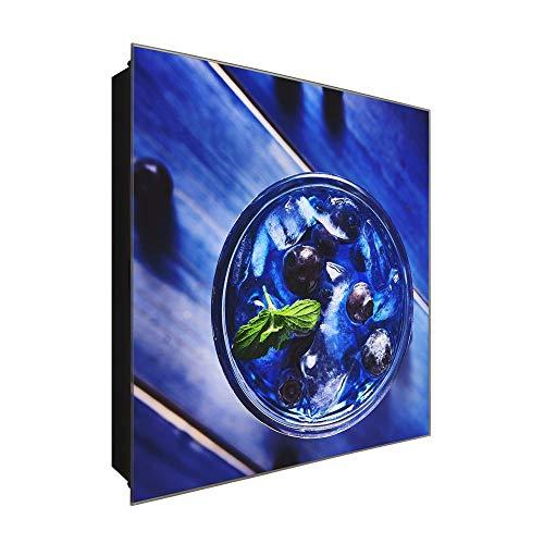 DekoGlas Schlüsselkasten 'Heidelbeer Drink' 30x30 Glas, inkl. Haken Schlüsselbrett Schlüssel-Box Design Aufbewahrung