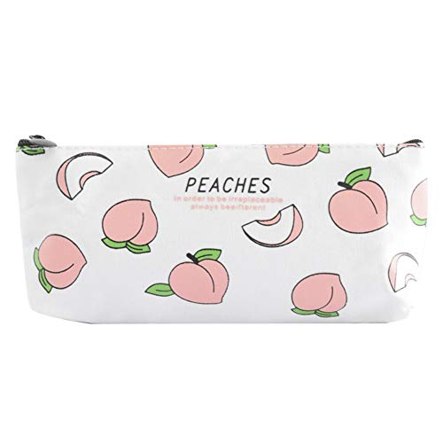Shuda - Estuche multifuncional con patrón de melocotón para papelería, juguetes pequeños, adorno, bolsa de almacenamiento, bolsa de cosméticos, color Multi-peaches(white) 21.3 * 8.8cm