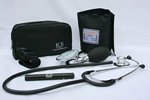 Black Aneroid Blood Pressure Monitor Sphygmomanometer, Stethoscope, Pen...