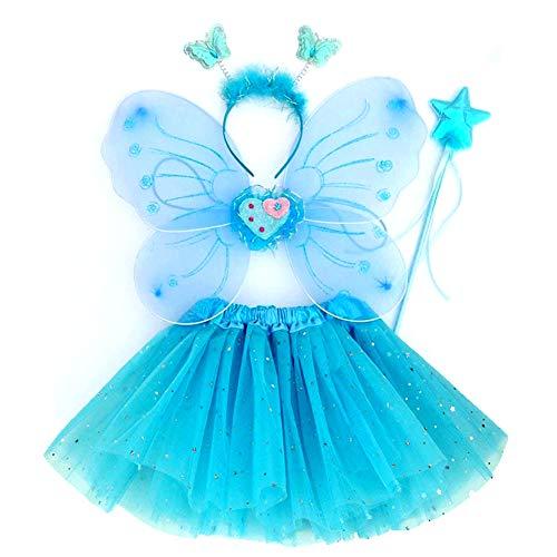 EQLEF Fee Kostüm Kinder, Tutu und Flügel Stirnband Set Schmetterlingsflügel Fee Prinzessin Kostüm für Mädchen Party Kostüm Blau - Set von 4 (Blau)