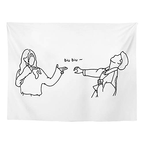 GenericBrands Black And White Lines Tapestry Art Kiss Lovers Lover Background Cloth Painting Home Decorations For Living Room