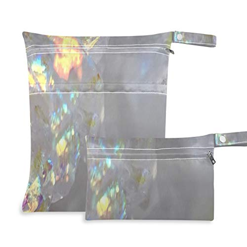 Angel Aura Opal Aura Aura Quartz Cluster Druzy Waterproof Wet Dry Bag Two Pockets 11.8×14.2 Inch And 5.9×8.7 Inch Diaper Pouch Waterproof Organizer Diaper Bag Organizer For Swimsuits Or