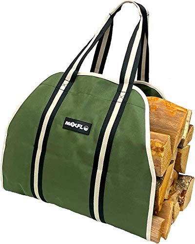 Firewood Carrier Heavy Duty Firewood Holder Utility Tote Log Holder Premium Firewood Tote Fireplace Accessories Wood Basket for Fire Logs Canvas Firewood Carrier Log
