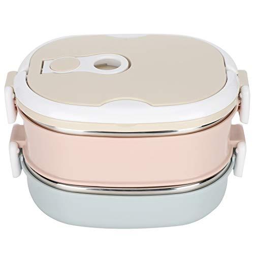 Fiambrera térmica Bento con aislamiento térmico de acero inoxidable, 1 – 3 capas de contenedores de alimentos para niños adultos, adecuada para el trabajo la escuela y la oficina (2 capas de 1800 ml)
