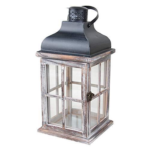 Lanterne Décoration Vintage Bois en Métal Cadeau Maison avec Poignée Suspendue Jardin Mariage Européenne Style Exquis Bougeoir À La Main(11.5 11.5 21CM)