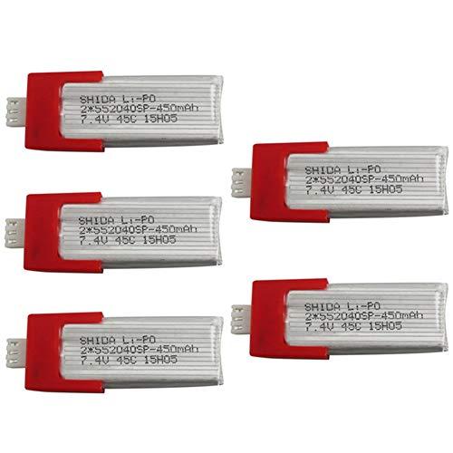 AKDSteel 7,4 V 450mah Lithium Batterie für XK K120 Einzel Paddel Fernbedienung Hubschrauber Zubehör Upgrade Batterie 5PCS for