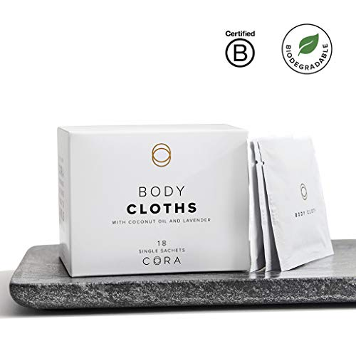 Cora Bamboo Feminine Wipes with Plant-Based Moisturizers and Essential Oils (18 Count)