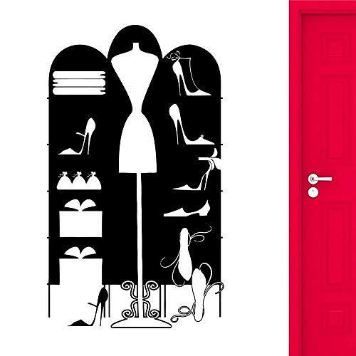 HGFDHG Etiqueta de la Pared del Armario de Las Mujeres Moda Chica de Moda Vinilo Pared calcomanía decoración del hogar Coser Billetera Ventana