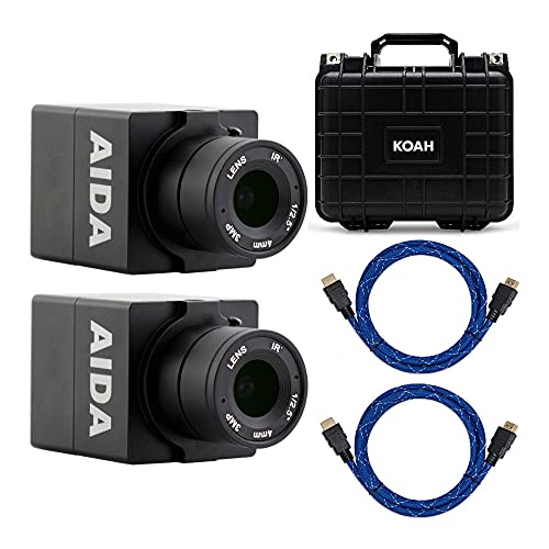 AIDA HD-100A Compact Full HD HDMI POV Camera with TRS Stereo Audio Input (Set of 2) with Hard Case and 2 Knox Gear 4K HDMI Cables Bundle (5 Items)