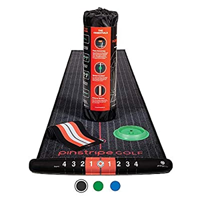 PINSTRIPE GOLF Putting Mats Indoor - Putting Green & Essential Putting Aids - 3 Colors - 7.87-feet x 1.64-feet