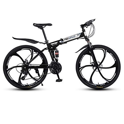 Mountainbike für Erwachsene, 26 Zoll 21-Gang, Mountain Trail Bike Klappfahrräder für die Strasse, Fahrrad Vollgefedertes MTB-Getriebe Doppelscheibenbremsen Mountainbike,Schwarz