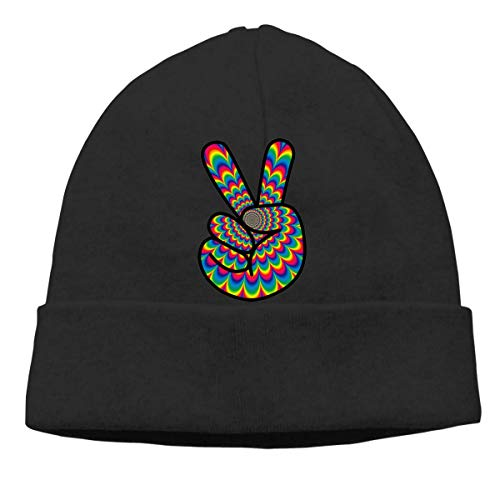 XCNGG Gorro de Punto Gorro de Lana Mens and Womens Psychedelic Peace Hippie Knitted Cap, Fashion Skull Cap